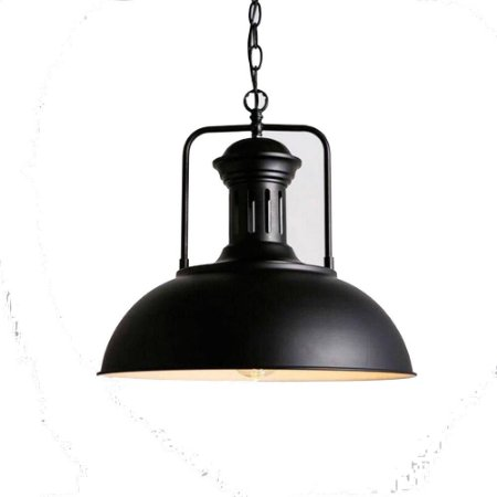 Pendente Teto Industrial De Metal Preto Design Retro Vintage Loft Grande