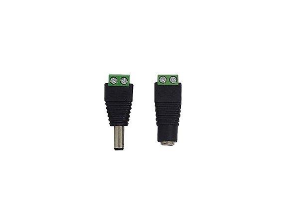 Conector P4 de Fonte Plug Macho Femea  Para Fita De Led