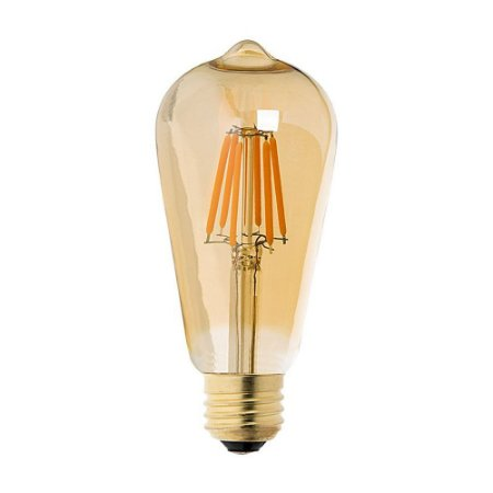 Lâmpada de Filamento de LED ST64 Dimerizável 127V Vidro Âmbar