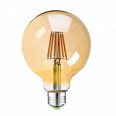 Lâmpada de Filamento de LED G95 Dimerizável 127V Vidro Âmbar