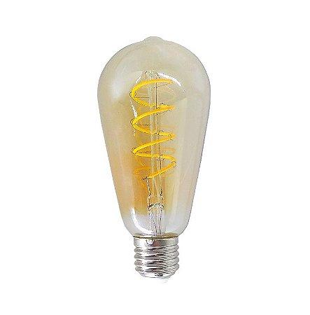 Lâmpada de Filamento de LED ST64 Vidro Âmbar