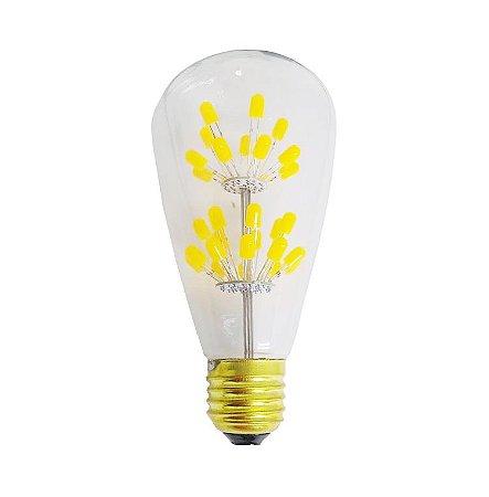 Lâmpada de Filamento de LED ST64 Efeito Árvore Vidro Transparente