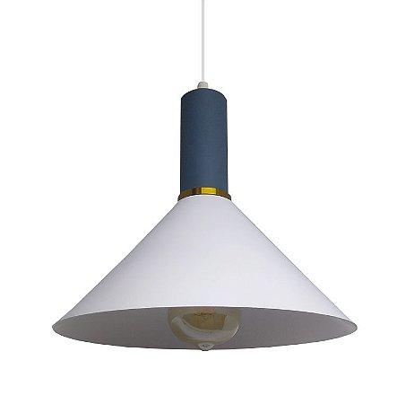 Luminária Pendente de Teto Chapéu Chines Cor Branco e Detalhes em Azul