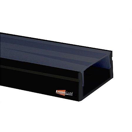 Perfil Sobrepor 24X9MM Slim LUM22 OFF & ON Difusor Black Fumê Fita Led