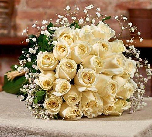 Buquê  de rosas brancas colombianas