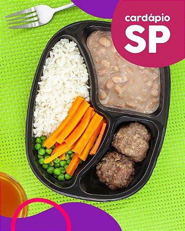 SP | AC - Mini hambúrguer, arroz branco, feijão carioca, cenoura e ervilha