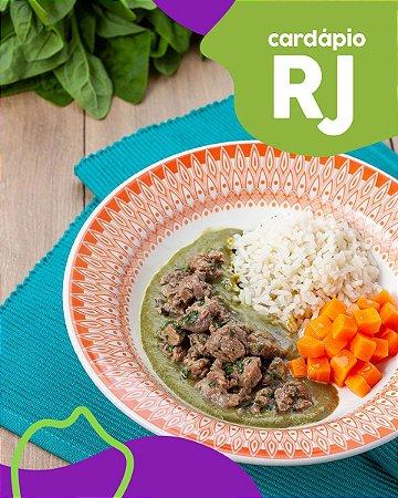 RJ | EC - Picadinho de mignon, creme de espinafre, cenoura assada e arroz