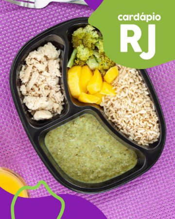 RJ | AC -  Iscas de filé de frango, arroz integral, creme de espinafre, mandioquinha e brócolis
