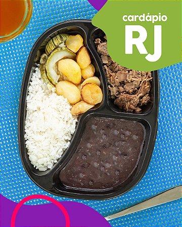 RJ | AC - Iscas de filé mignon, arroz branco, feijão preto, batata e abobrinha