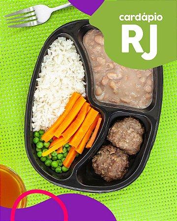 RJ | AC - Mini hambúrguer, arroz branco, feijão carioca, cenoura e ervilha