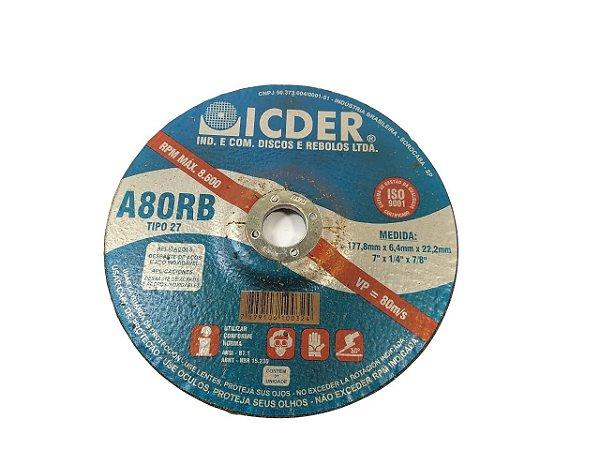 DISCO DE DESBASTE 7''X1/4''X7/8'' A80RB TIPO 27 ICDER