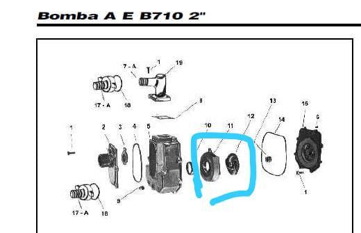 PORTA ROTOR MOTOBOMBA BRANCO B710 2 POL
