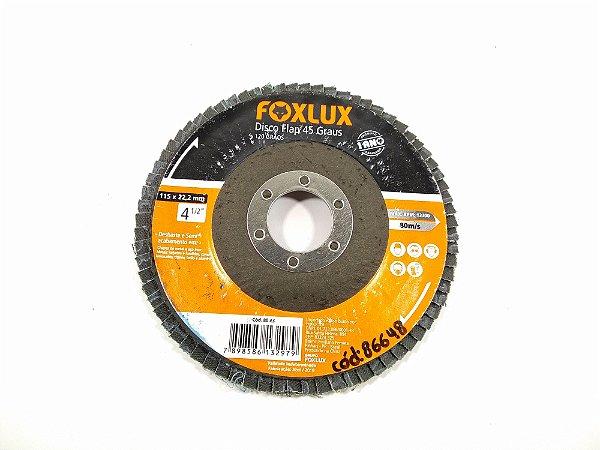 DISCO FLAP 45 GRAUS 120 GRÃOS 115x22,2MM 4 ¹/²'' FOXLUX