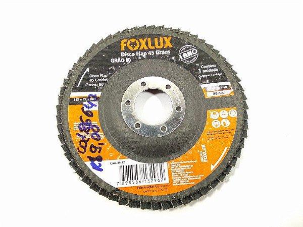 DISCO FLAP 45 GRAUS 80 GRÃOS 115x22,2MM 4¹/²'' FOXLUX