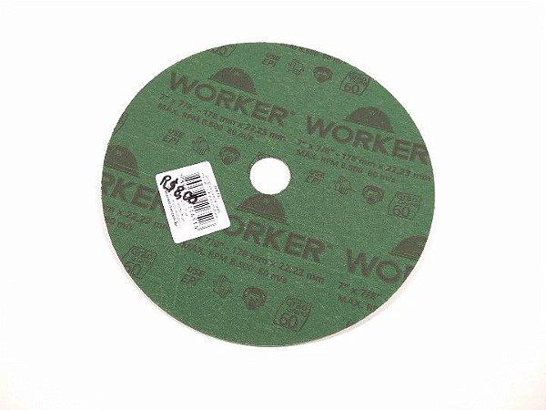 """DISCO LIXA DE FIBRA 7""""x7/8 178x22,23MM GRÃO 60 WORKER"""