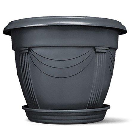 Vaso Plástico Romano Redondo N0 2 Litros - Preto ATENÇÃO: Pode ser adquirido em kits!