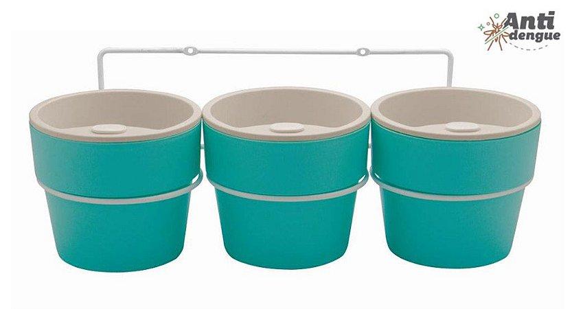 Kit com 3 Vasos Autoirrigáveis Médio Azul e Suporte