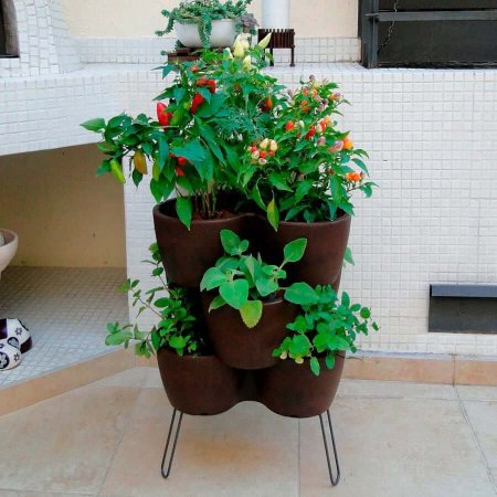 Vaso Jardim Vertical 3 Peças Com Suporte Cor Rusty