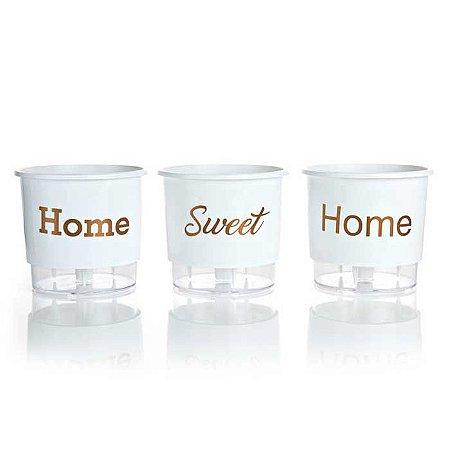 3 Vasos Auto Irrigáveis Home Sweet Home N03 Branco – Médio 16x14