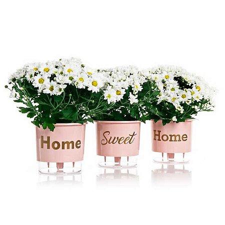 3 Vasos Auto Irrigáveis Home Sweet Home N03 Rosa Quartzo – Médio 16x14