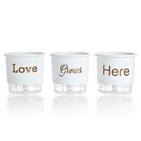3 Vasos Auto Irrigáveis Love Grows Here Branco N02 – Pequeno 12x11