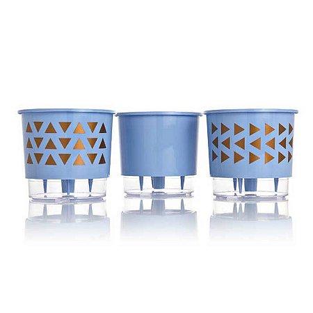 3 Vasos Auto Irrigáveis Geométrico N03 Azul Serenety – Médio 16x14