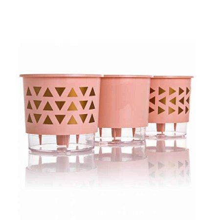 3 Vasos Auto Irrigáveis Geométrico Rosa Quartzo N02 - Pequeno 11x12