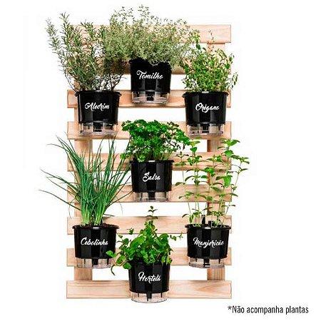 Horta Vertical Gourmet - Kit com 7 vasos + 7 suportes + 1 treliça de 100cm x 60cm