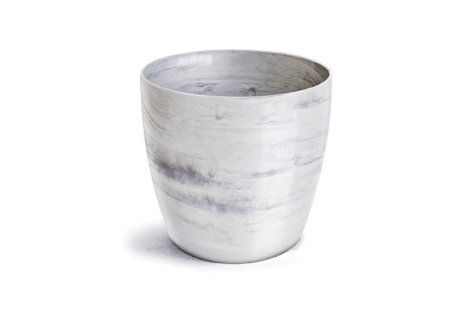Vaso Cachepô Elegance Redondo N5 Branco Carrara 26x27