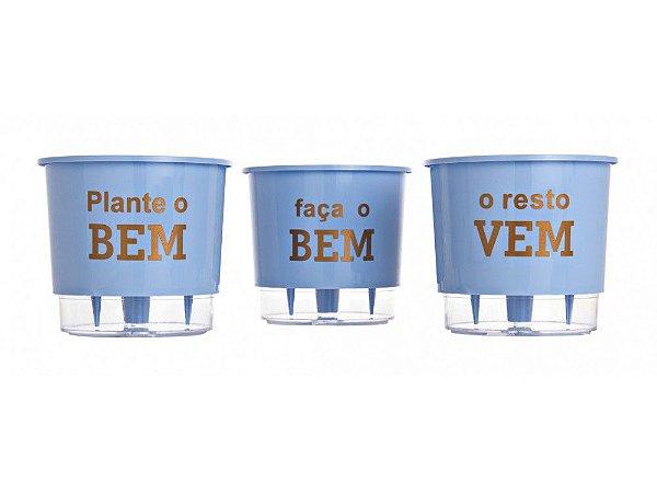 Kit Vasos Auto Irrigáveis N02 Azul Plante o bem, Faça o bem, O resto vem