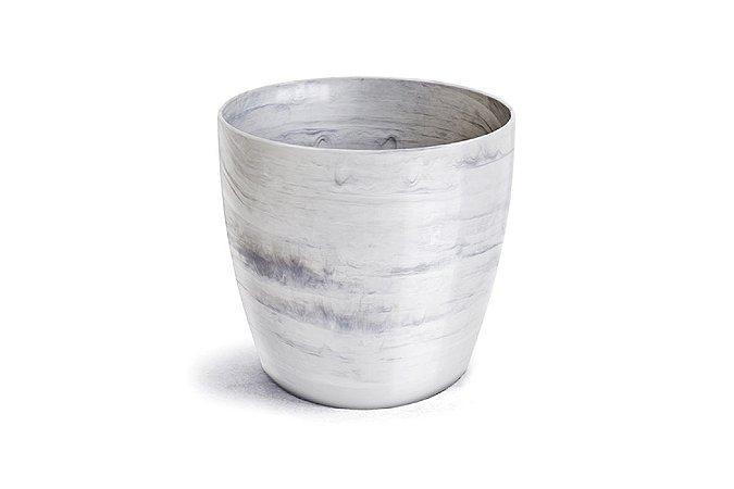Vaso Cachepô Elegance Redondo Mini Branco Carrara