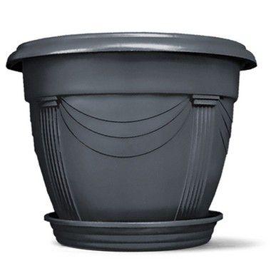 Vaso Plástico Romano Redondo N2 8,5 Litros - Preto