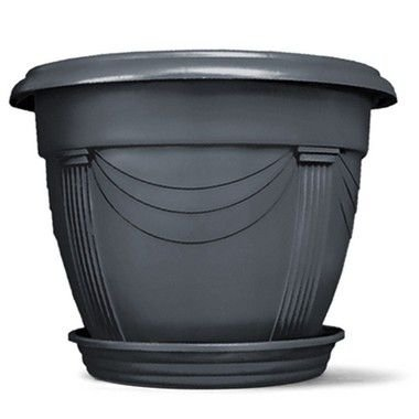 Vaso Plástico Romano Redondo N3 19 Litros - Preto