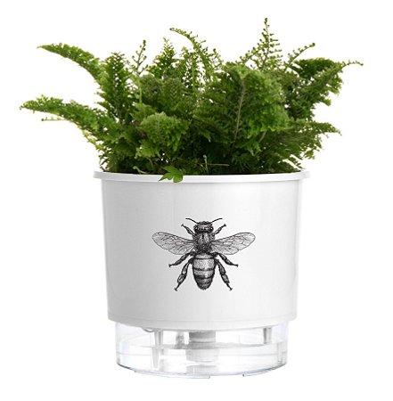 Vaso Autoirrigável Pequeno N02 12cm x 11cm Branco Abelha