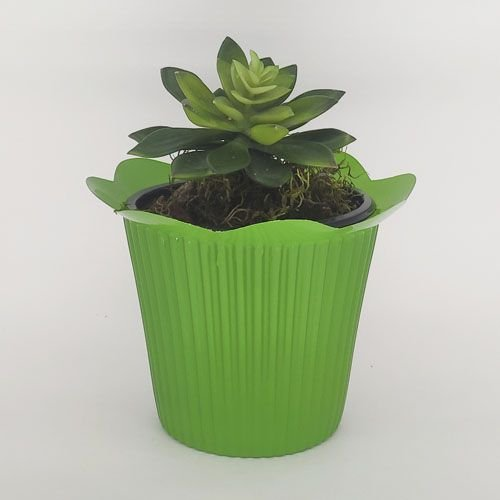 VASO PET MARGARIDA FLEXIVEL P - VERDE - KIT COM 20 UNIDADES