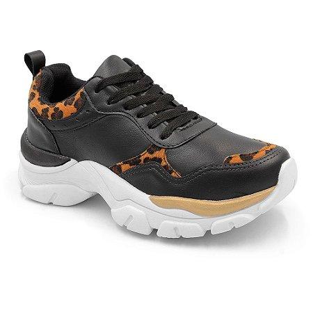 Tênis Sneaker Casual Chunky Peluche Preto Onça Feminino