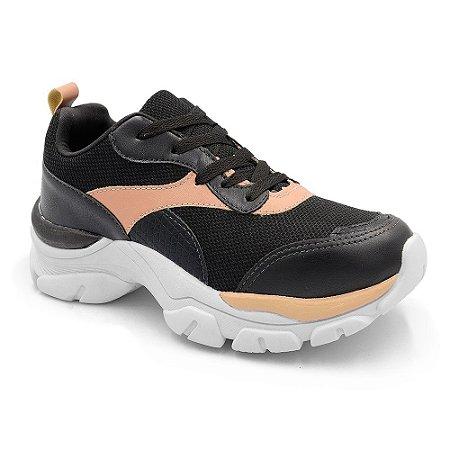 Tênis Sneaker Casual Chunky Peluche Preto Terracota Feminino