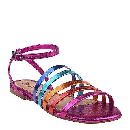 Sandália Rasteira Rainbow Tira Colorida Metalizado Zalux