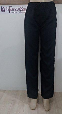 Calça de Elástico e Cordão na Cintura Preto Unissex