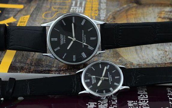 95c14de82ff Relógio Masculino Swidu em couro Fundo preto e pulseira Preta ...