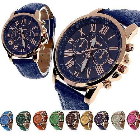 3eba2931f34 Relógio Geneva em Couro Algarismos Romanos - Tempos Modernos
