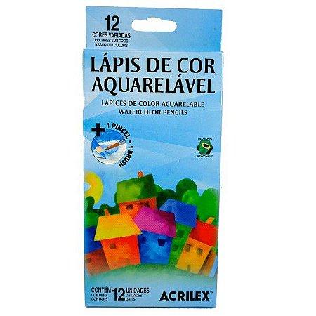 Lápis De Cor Aquarelável Com 12 Cores - Acrilex