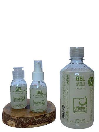 Kit bolso com refil - Gel Lavanda e Melaleuca uNeVie - álcool 70% (°GL)