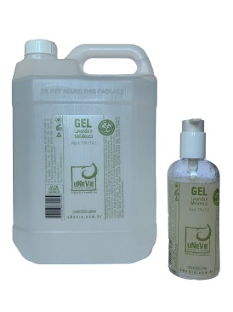 Kit casa no vidro com refil 5 litros - Gel Lavanda e Melaleuca uNeVie - álcool 70% (°GL)