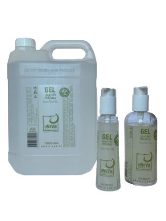 Kit casa pump com refil 5 litros - Gel Lavanda e Melaleuca uNeVie - álcool 70% (°GL)