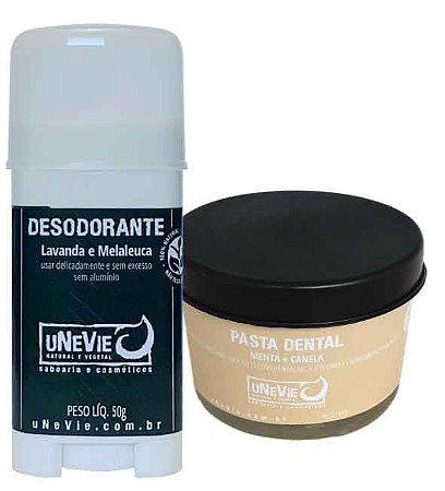 Kit Privé Canela e Menta uNeVie | desodorante e pasta dental natural