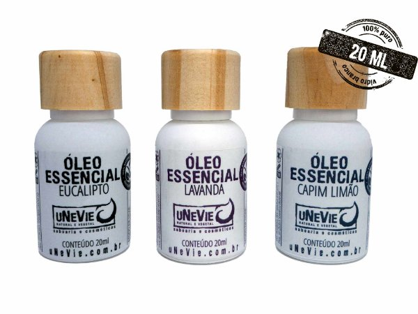 Trio Óleos Essenciais uNeVie - Lavanda, Capim Limão e Eucalipto