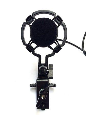 Captação Especial para Cajón com shock mount e clamp Capsula SM57