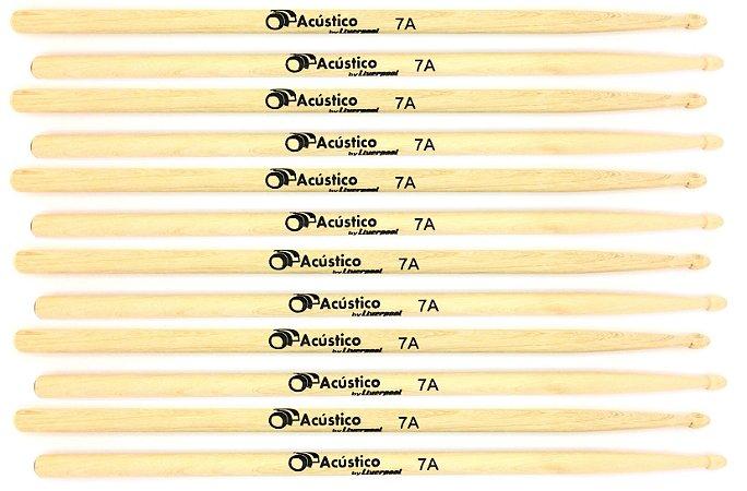 O Acústico By Liverpool 06 Pares de Baquetas Marfim 7a P. de Madeira OA7A-K6
