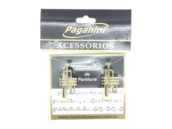 Paganini Prendedor Partitura e Hinário Trompete Metal PPT087